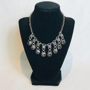 Ann Taylor Loft Silver & Black Bib Necklace #63